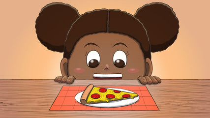 Close-up illustration of a black girl staring at a pizza slice on the table.