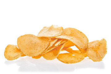 Close up potato chips isolated on white background.