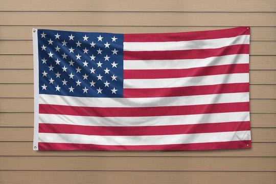 USA Flag hanging on a wall