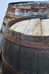 Old wooden barrel close up used voor wine, whiskey, other alcoholic drinks