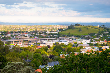 View of a town in Auckland, New Zealand. View from Mt. Eden.