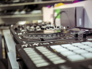 close up dj set making hip-hop instrumental beats