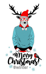 Creative Christmas card with deer in glasses. Colorful vector print.