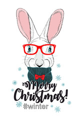 Cute chrismas card with young rabbit.