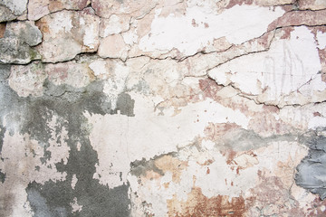 Wall Murals Old dirty textured wall Crack wall brick plaster texture. Old abstract broken architecture background. Scratched stucco. For banner and wallpaper.