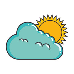 climate cloud with sun vector illustration design