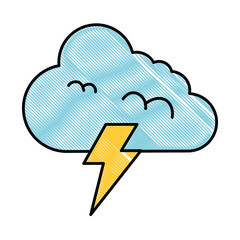 climate cloud with thunder vector illustration design