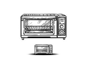 Line Art Microwave Ovens Tool for Toasting Hand Drawn Symbol Logo Vector