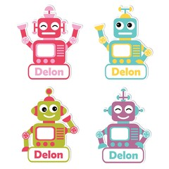 Vector cartoon illustration with colorful robot toys suitable for kid name tag set design, label name, and printable sticker set