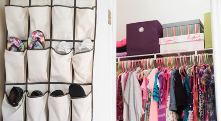A young girl's closet neatly organized with bins and boxes.