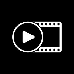 movie strip with play symbol in circle. simple silhouette. White icon on black background. Inversion