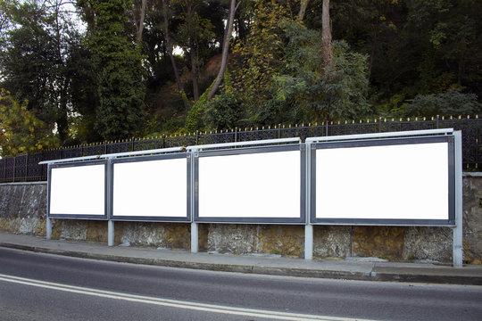 Empty / blank outdoor advertising billboards by Bosphorus in Istanbul.