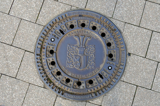 Decorative manhole / drain cover in Leipzeig City, Germany