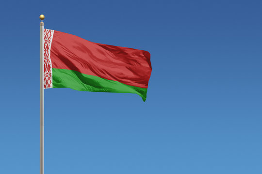 Belarus flag in front of a clear blue sky