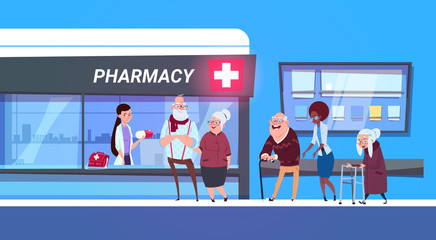 Group Of People Standing In Line To Pharmacy Store In Modern Hospital Drugstore Shop Concept Flat Vector Illustration