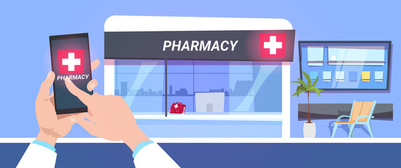 Online Pharmacy Store Service Hand Hold Smart Phone Over Modern Drugstore Shop Background Flat Vector Illustration