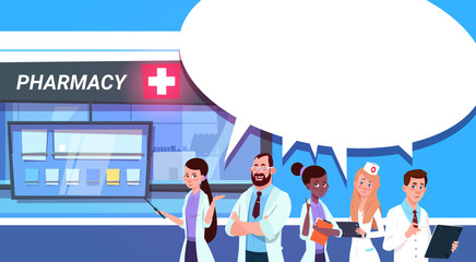 Group Of Doctors Standing At Pharmacy Store In Modern Hospital Drugstore Shop Background Flat Vector Illustration