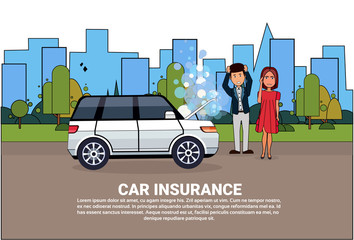 Car Insurance Service Concept People Standing At Broken Vehicle On Road Over Background With Copy Space Flat Vector Illustration