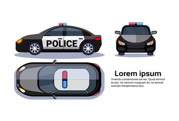 Police Car On White Background Isolated Top, Side And Front View Over Copy Space Flat Vector Illustration
