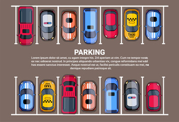 Parking Space Top View With Set Of Colorful Cars, Park Zone Background Flat Vector Illustration