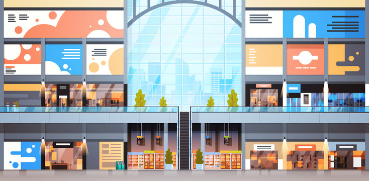 Modern Shopping Mall Interior Big Many Boutiques Design Of Retail Store Flat Vector Illustration