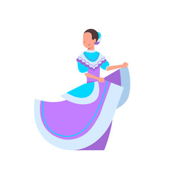 Beautiful Mexican Woman Dancer In Traditional National Costume Isolated On White Background Flat Vector Illustration