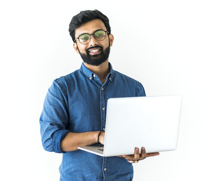 Man using laptop isolated on white background