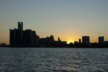 Detroit skyline silhouette at sunset