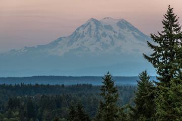 Aluminium Prints Mt Rainier Sunset Overlook Park