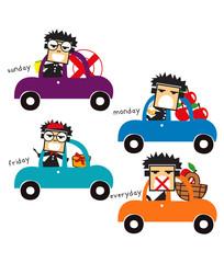 car set doodle cartoon