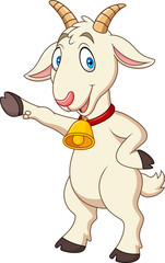 Cartoon funny goat presenting