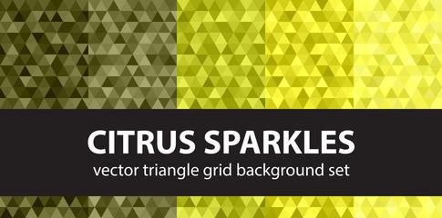Triangle pattern set Citrus Sparkles. Vector seamless geometric backgrounds