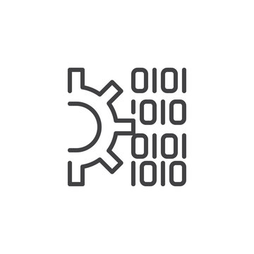 Gear and Binary code outline icon. linear style sign for mobile concept and web design. Code settings line vector icon. Symbol, logo illustration. Pixel perfect vector graphics