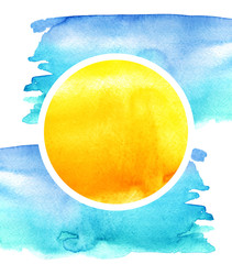 Watercolor abstract logo, icon, banner. Spots of watercolor paint, orange, yellow   circle on a blue background. Reminds the sun in the sky. Drawing with a place for your design