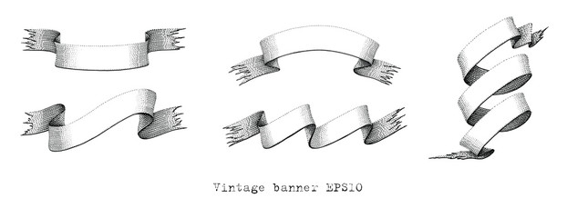 Vintage banners hand drawing engraving illustration
