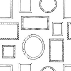 Picture frame graphic black white seamless pattern sketch background illustration vector