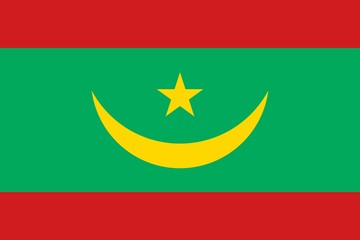 Flag of Mauritania official colors and proportions, vector image.