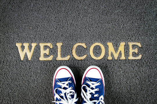 Welcome mat texture background.