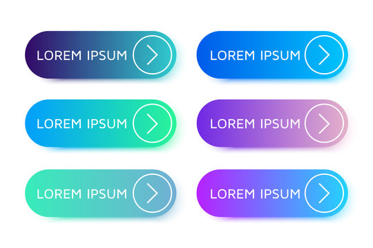 Set of beautiful buttons in flat design with modern gradients and arrows