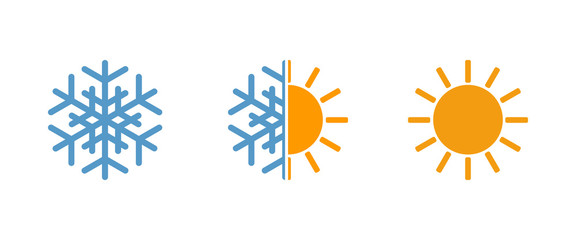 sun and snowflake, weather vector icons