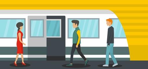 Metro station banner horizontal. Flat illustration of metro station vector banner horizontal for web
