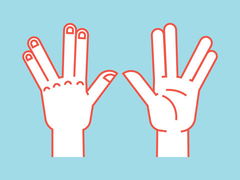 Gesture. Spock sign. Vulcan greet. Stylized hand for geek hand game. Icon. Vector illustration on a blue background. Orange lines and white silhouette. Element for your design.