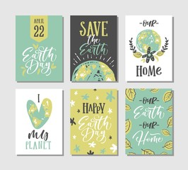 Happy Earth Day Cards Collection. Vector illustration.