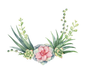Watercolor vector wreath of cacti and succulent plants isolated on white background.