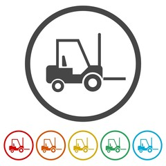 Forklift icon, Forklift truck side silhouette, 6 Colors Included