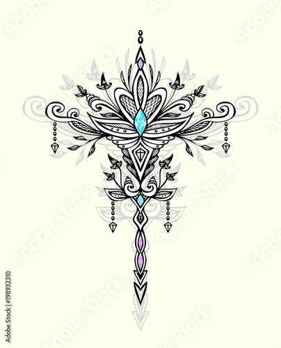 Abstract Zen Tangle Symbol In Boho Indian Asian Arabic Ethnic Style