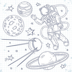 Vector illustration spaceman, planets, stars and satellites
