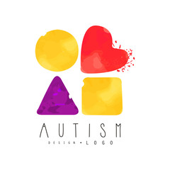 Creative vector logo with abstract textured shapes: circle, heart, triangle and square. Autism Awareness Day emblem. Genetic disorder theme