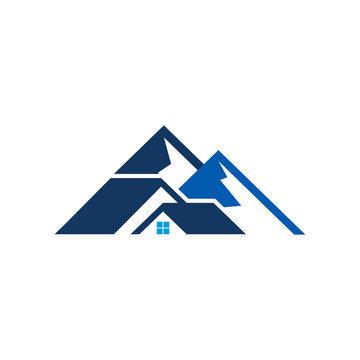 Roof Mountain Logo Icon Design