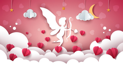 Angel, Cupid illustration. Cartoon cloud landscape Vector eps 10